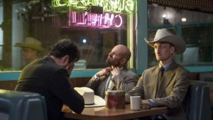 Dominic Cooper as Jesse Custer, Tom Brooke as Fiore, Anatol Yusef as DeBlanc- Preacher _ Season 1, Episode 5 - Photo Credit: Lewis Jacobs/Sony Pictures Television/AMC
